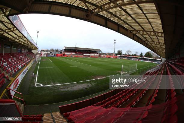General View of he Jonny-Rocks Stadium prior to the Sky Bet League Two match between Cheltenham Town and Northampton Town at The Jonny-Rocks Stadium...