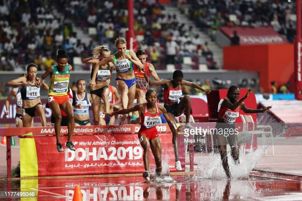 General view of Heat 3 action during the Women's 3000 metres Steeplechase heats during day one of 17th IAAF World Athletics Championships Doha 2019...