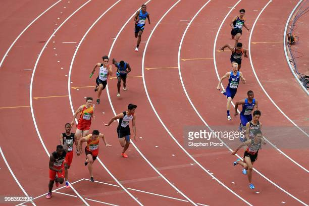 A general view of heat 3 of the men's 4x100m relay on day four of The IAAF World U20 Championships on July 13 2018 in Tampere Finland