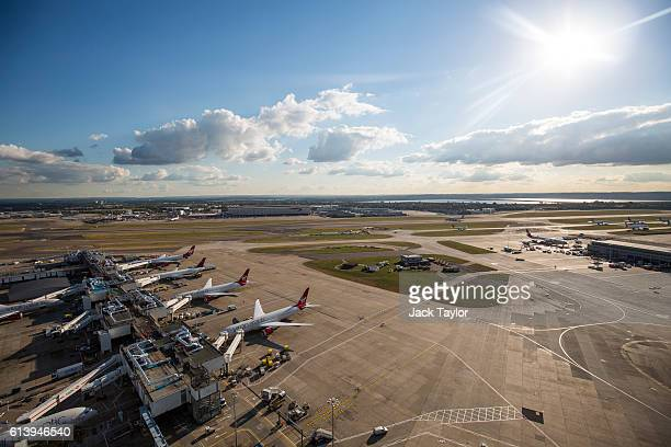 A general view of Heathrow Airport on October 11 2016 in London England The UK government has said it will announce a decision on airport expansion...