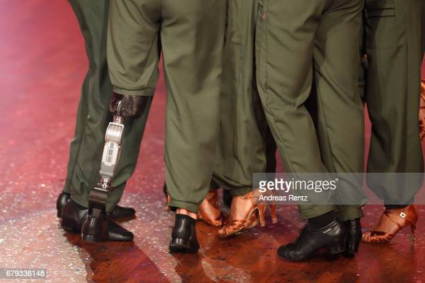 A general view of Heinrich Popows artificial leg during the 7th show of the tenth season of the television competition 'Let's Dance' on May 5 2017 in...