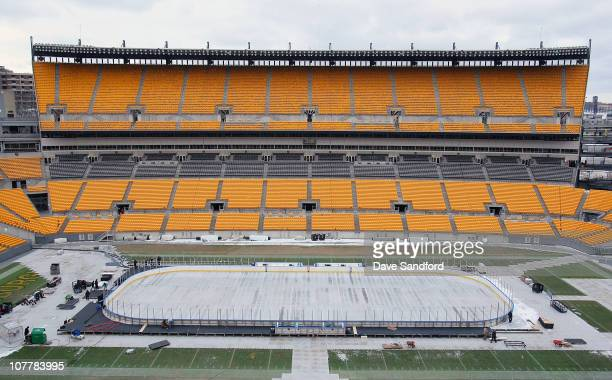 General view of Heinz Field as workers construct the rink for the 2011 Bridgestone NHL Winter Classic at Heinz Field on December 26, 2010 in...