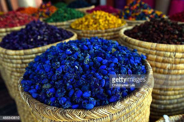 General view of Herbs and Spices on a market stall on September 12 2014 in Marrakech Morocco