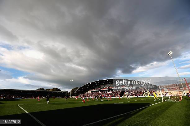 A general view of Highbury stadium home of Fleetwood Town FC during the Sky Bet League Two match between Fleetwood Town and Chesterfield at Highbury...