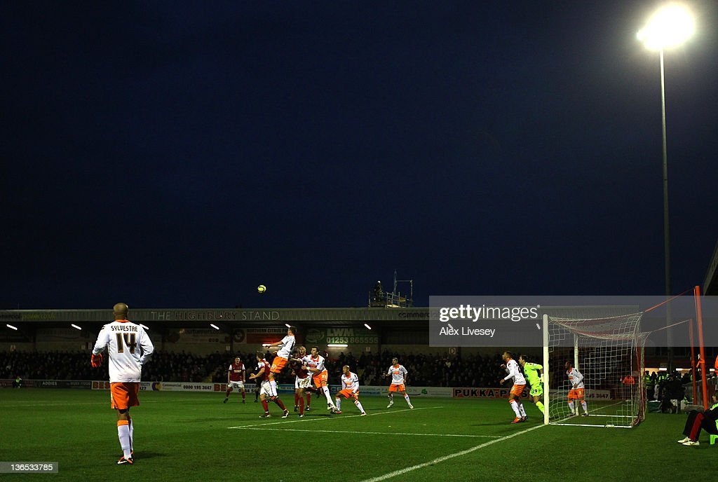 A general view of Highbury Stadium is seen during the FA Cup sponsored by Budweiser third round match between Fleetwood Town and Blackpool at Highbury Stadium on January 7, 2012 in Fleetwood, England.