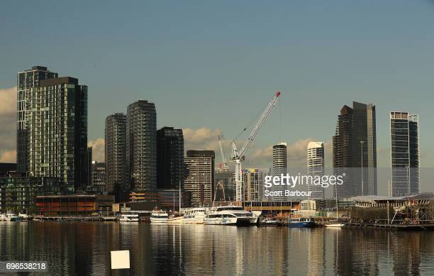 A general view of highrise and apartment buildings in the Docklands on June 16 2017 in Melbourne Australia There has been increased interest in the...