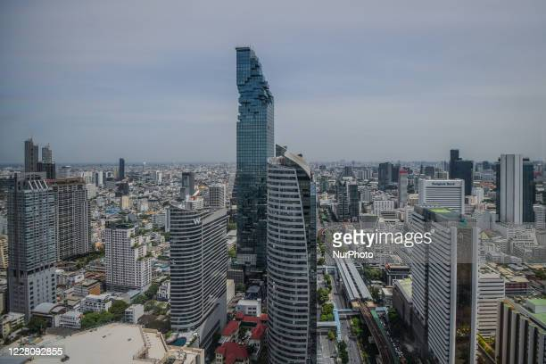 A general view of highrise buildings in Bangkok and Thailand's tallest skyscraper King Power MahaNakhon building on August 18 2020 in Bangkok Thailand