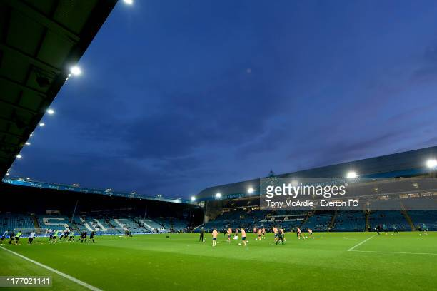A general view of Hillsborough as both teams warm up before the Carabao Cup Third Round match between Sheffield Wednesday and Everton at Hillsborough...