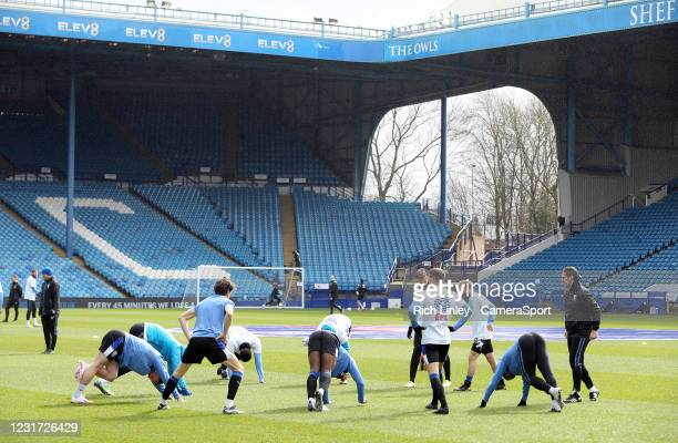 General view of Hillsborough Stadium, home of Sheffield Wednesday as the players go through their pre-match warm-ups during the Sky Bet Championship...