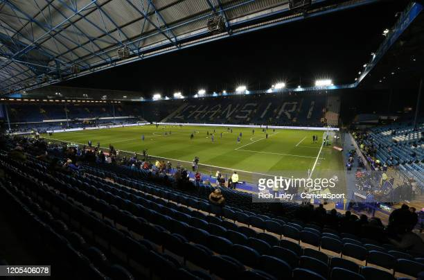 A general view of Hillsborough Stadium home of Sheffield Wednesday Football Club during the FA Cup Fifth Round match between Sheffield Wednesday and...