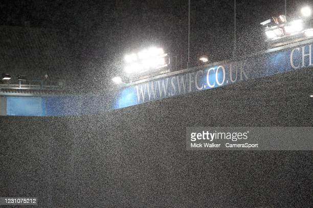 General view of Hillsborough under heavy snow during the Sky Bet Championship match between Sheffield Wednesday and Wycombe Wanderers at Hillsborough...