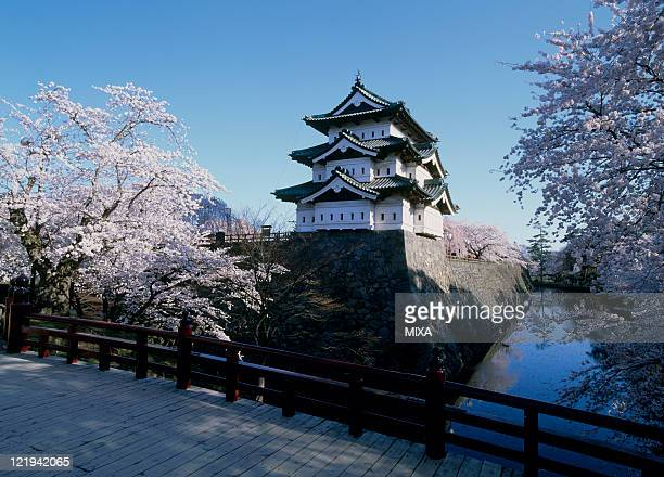 A general view of Hirosaki Castle and cherry blossoms on April 27 2007 Hirosaki Aomori Japan