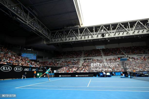 A general view of Hisense Arena as Aliaksandra Sasnovich of Belarus serves in her third round match against Caroline Garcia of France on day six of...