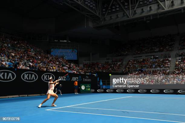 A general view of Hisense Arena as Caroline Garcia of France plays a forehand in her third round match against Aliaksandra Sasnovich of Belarus on...