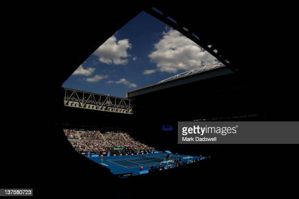 A general view of Hisense Arena during the fourth round match between JoWilfried Tsonga of France and Kei Nishikori of Japan during day eight of the...