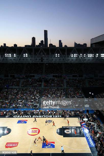 A general view of Hisense Arena during the round 14 NBL match between Melbourne United and the Cairns Taipans at Hisense Arena on January 24 2018 in...