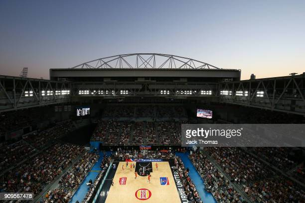 General view of Hisense Arena during the round 14 NBL match between Melbourne United and the Cairns Taipans at Hisense Arena on January 24, 2018 in...
