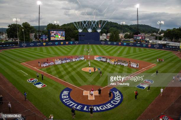 General view of Historic Bowman Field during the ceremonial first pitch prior to the 2018 Little League Classic between the New York Mets and the...