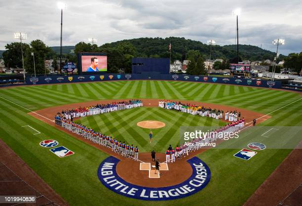 A general view of Historic Bowman Field during the national anthem prior to the 2018 Little League Classic between the New York Mets and the...