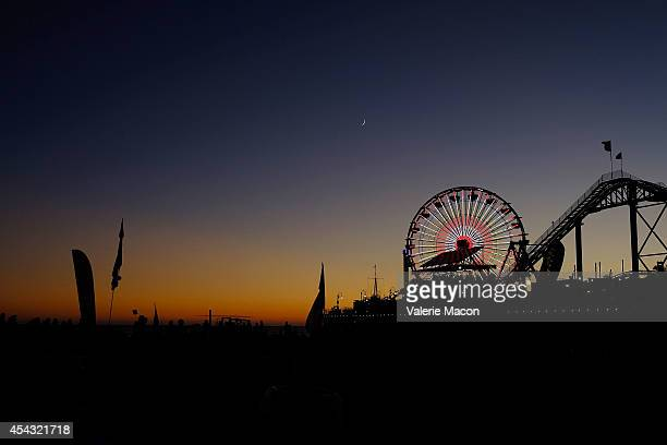 General view of Historic Landmarks the Pacific Wheel In Santa Monica Light Up In Support Of Stand Up To Cancer And Stand Up To Cancer Canada on...