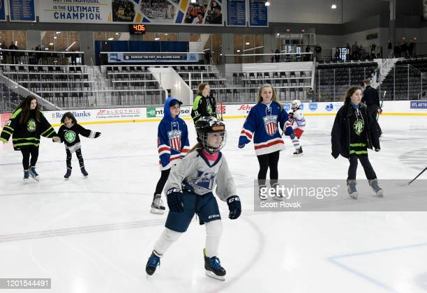 General view of hockey players skating is seen at the NHL, St. Louis Blues and Bauer Hockey Invest in Girls' and Women's Hockey Programming Legacy...
