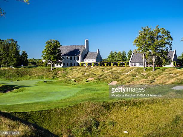 General view of hole eighteen scenic of Whistling Straits Golf Course in Sheboygan, Wisconsin, the future site of the 97th PGA Championship on...
