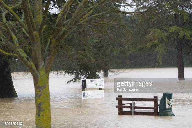 General view of hole one at the flooded Greendale Golf Club on May 31, 2021 in Greendale, New Zealand. Heavy rain across the Canterbury region has...