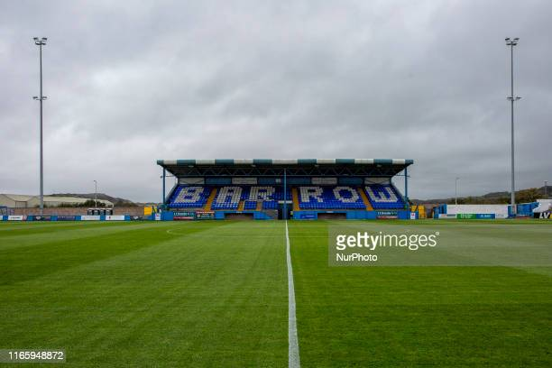 A general view of Holker Street before the Vanarama National League match between Barrow and Hartlepool United at the Holker Street BarrowinFurness...