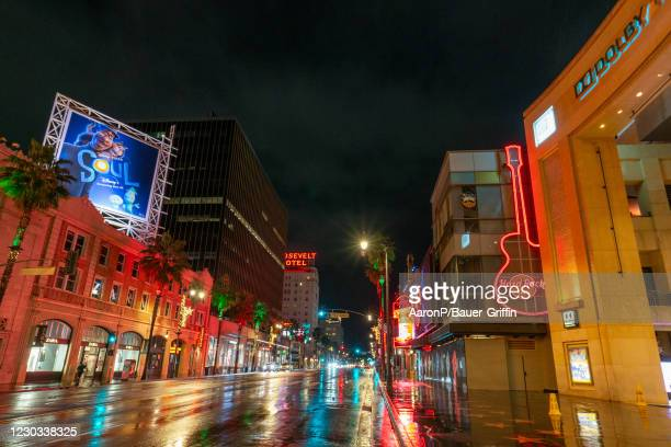 General view of Hollywood Blvd during the first rain of season on December 28, 2020 in Hollywood, California.