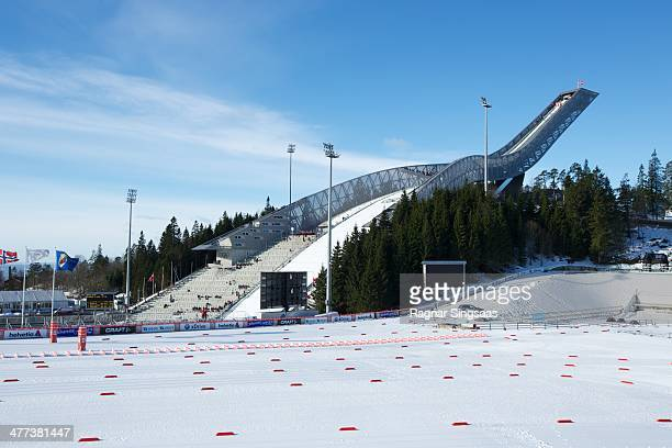 General view of Holmenkollen ski jumping hill during the nordic skiing world cup on March 8 2014 in Oslo Norway