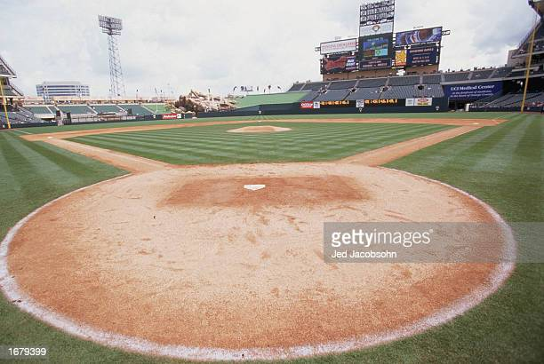 A general view of home plate and the outfield bleachers at Edison Field on May 5 1998 in Anaheim California