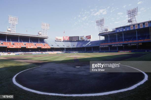 General view of home plate and the outfield bleachers at Tiger Stadium on September 27, 1999 in Detroit, Michigan.