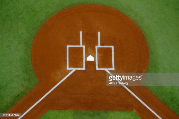 General view of home plate before Game 6 of the 2020 World Series between the Los Angeles Dodgers and the Tampa Bay Rays at Globe Life Field on...