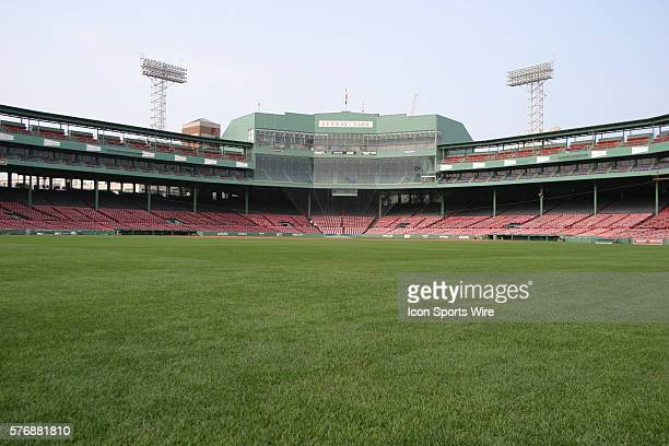 A general view of home plate from the outfield at Fenway Park in Boston MA