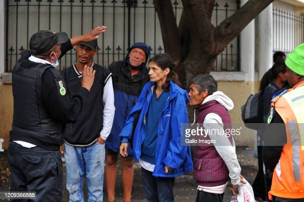 A general view of homeless being taken off Long Street Cape Town on Day Twelve of National Lockdown on April 07 2020 in Cape Town South Africa...
