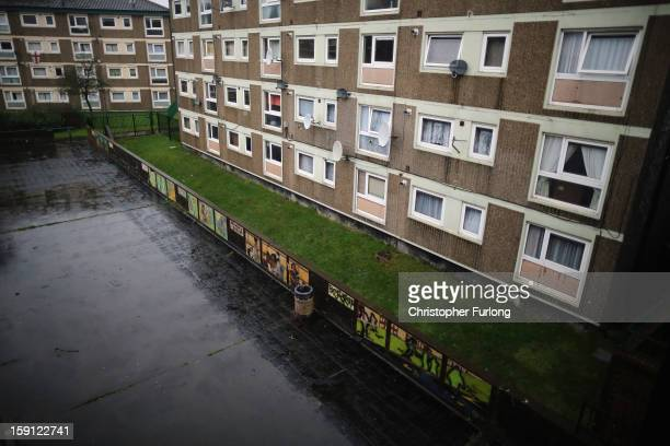 A general view of homes on the Falinge Estate which has been surveyed as the most deprived area in England for a fifth year in a row on January 8...