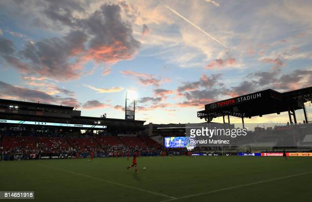 A general view of Honduras and Canada warmups during the 2017 CONCACAF Gold Cup at Toyota Stadium on July 14 2017 in Frisco Texas