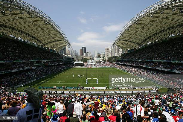A general view of Hong Kong Stadium on day three of the Rugby World Cup Sevens March 20 2005 in Hong Kong China