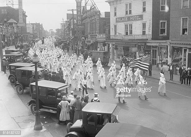 A general view of hooded Klansmen parading through the streets of Long Branch New Jersey July 4 1924