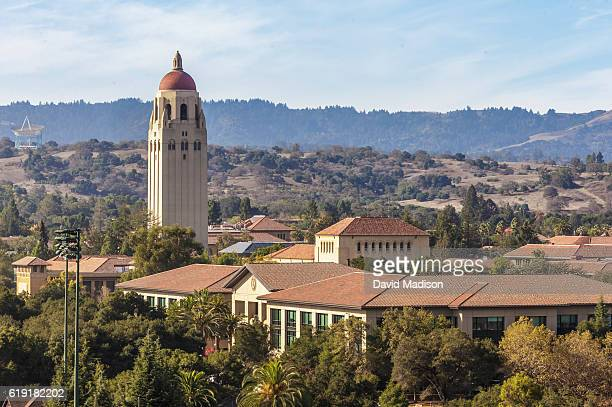 A general view of Hoover Tower and the Stanford University campus as seen from Stanford Stadium prior to an NCAA Pac12 football game between the...