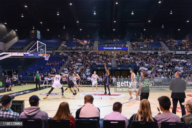 General view of Horncastle Arena as Scotty Hopson of the Breakers attempts a free throw during the round 12 NBL match between the New Zealand...