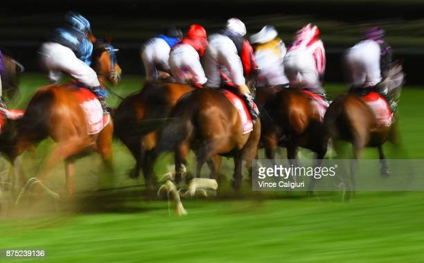 General view of horse and riders at the first turn out of straight in Race 7 during Melbourne Racing at Moonee Valley Racecourse on November 17 2017...