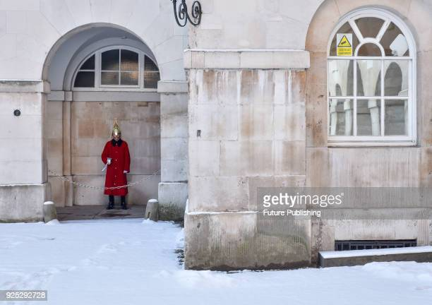 General view of Horse Guards Parade as snow falls overnight on February 28, 2018 in London, England PHOTOGRAPH BY Matthew Chattle / Barcroft Images