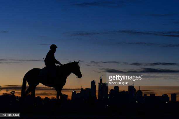 General view of horses at sunrise during a trackwork session on the first day of Spring at Flemington Racecourse on September 1 2017 in Melbourne...
