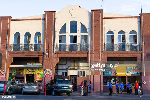 MEXICALI MEXICO July 10 General view of Hotel del Migrante on July 10 2018 in Mexicali Mexico Hotel del Migrante is a place that offers housing and...