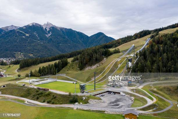 General view of Hotel Nidum and their training grounds on October 08, 2019 in Seefeld, Austria. The German national soccer team will set up their...