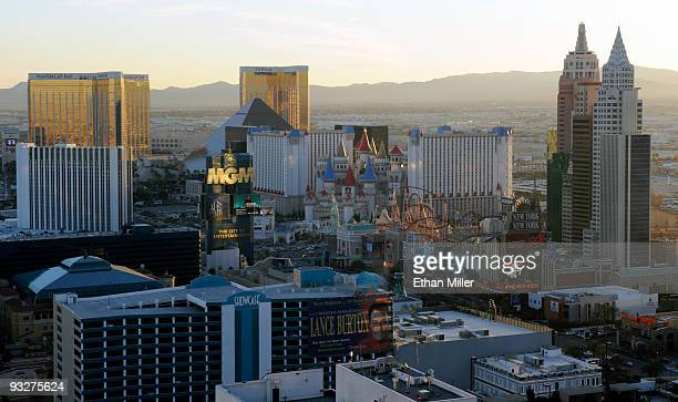 A general view of hotelcasinos on the south end of the Las Vegas Strip on November 20 2009 in Las Vegas Nevada