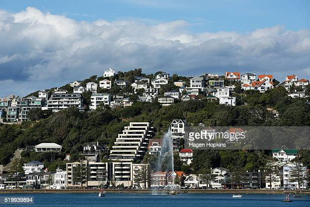 A general view of houses and apartments in Oriental Bay on April 9 2016 in Wellington New Zealand Increased demand for property in Wellington has...