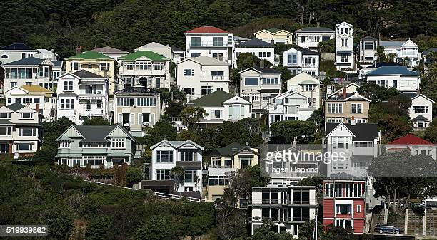 A general view of houses in Oriental Bay on April 9 2016 in Wellington New Zealand Increased demand for property in Wellington has seen house prices...