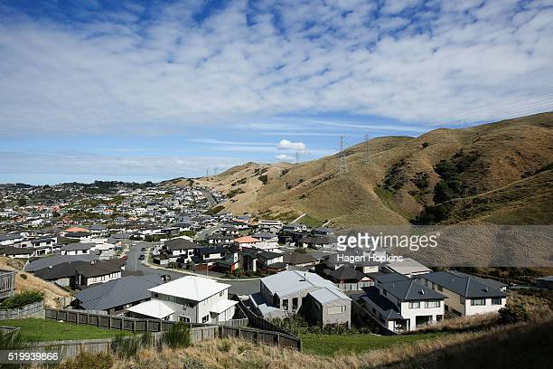 A general view of houses in the suburb of Churton Park on April 9 2016 in Wellington New Zealand Increased demand for property in Wellington has seen...